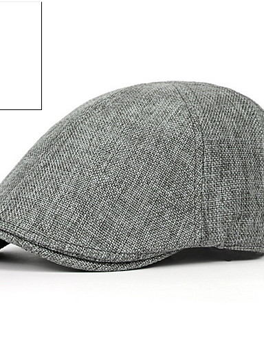 cheap Men's Hats-Men's Basic Polyester Beret Hat-Solid Colored Black Brown Dark Gray