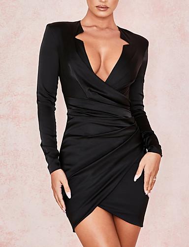 preiswerte Kleider für besondere Anlässe-Eng anliegend Tiefer Ausschnitt Kurz / Mini Satin Kleid mit Gerafft durch LAN TING Express
