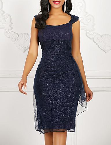 Mulheres Sofisticado Elegante Algodão Bainha Vestido - Paetês, Sólido Com Alças Altura dos Joelhos