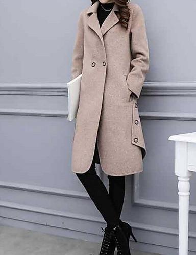 levne Dámské kabáty a trenčkoty-Dámské Denní Podzim zima Dlouhé Kabát, Jednobarevné Klasické klopy Dlouhý rukáv Polyester Velbloudí