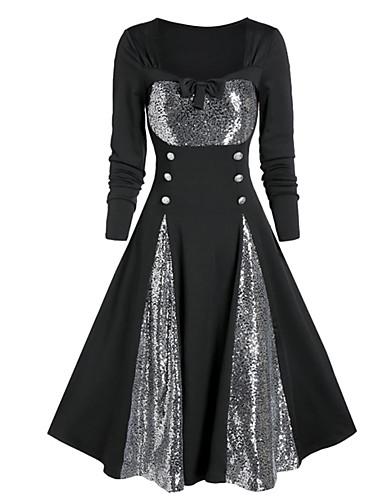 levne Šaty velkých velikostí-Dámské Pouzdro Šaty - Jednobarevné, Flitry Nad kolena