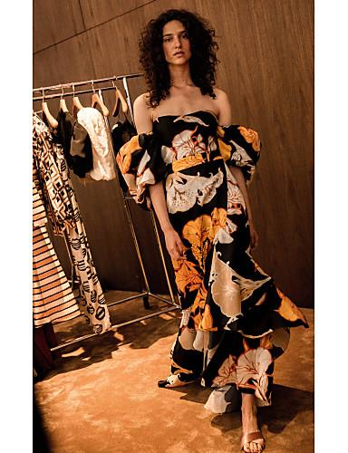 levne Maxi šaty-Dámské Pouzdro Šaty - Geometrický Maxi