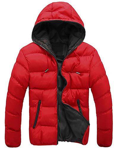 levne Pánské kabáty a parky-Pánské Jednobarevné S vycpávkou, Polyester Černá / Vodní modrá / Rubínově červená US32 / UK32 / EU40 / US34 / UK34 / EU42 / US36 / UK36 / EU44