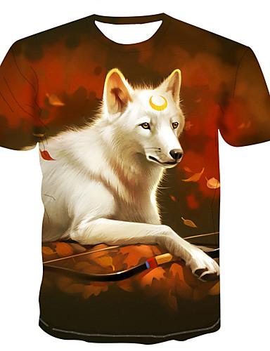 Homens Camiseta 3D / Arco-Íris Laranja