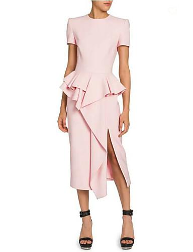 preiswerte Cocktailkleider-Eng anliegend Schmuck Tee-Länge Jersey Kleid mit Vorne geschlitzt / Kaskaden Rüschen durch LAN TING Express
