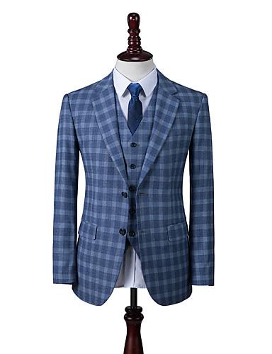 preiswerte Maßanzüge-schottlandblauer Anzug aus Wolle mit Schottenmuster