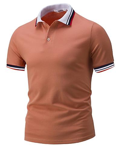 levne Pánská polo trika-Pánské - Jednobarevné Polo Košilový límec Světle modrá
