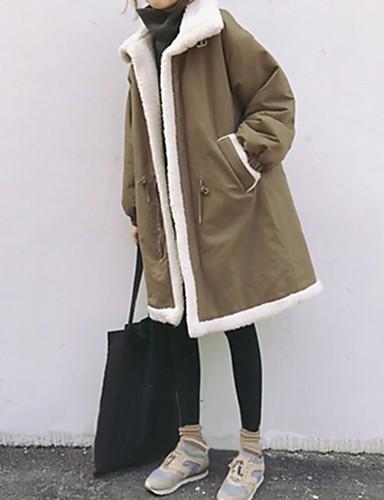 preiswerte Damen Überbekleidung-Damen Solide Parka, Polyester Schwarz / Khaki XL