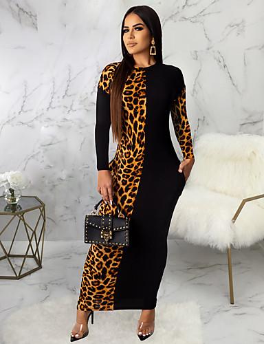 levne Maxi šaty-Dámské Sofistikované Elegantní Bodycon Šaty - Leopard, Patchwork Maxi