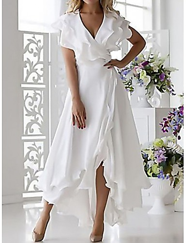 cheap White Dresses-Women's Plus Size Wrap Dress - Sleeveless Ruffle Wrap Multi Layer Summer Deep V Sexy Holiday Vacation Beach 2020 White Dark Blue S M L XL XXL XXXL XXXXL XXXXXL