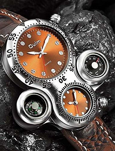 cheap Couple Watches-Men's Couple's Casual Watch Sport Watch Fashion Watch Japanese Quartz Leather Black / Brown Casual Watch Analog Luxury Vintage Steampunk - White Black Brown