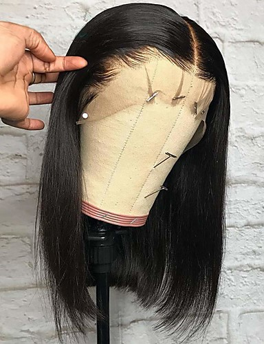 cheap Human Hair Wigs-Remy Human Hair Lace Front Wig Deep Parting style Brazilian Hair Yaki Straight Natural Wig 150% Density with Baby Hair Adjustable Thick Natural Hairline Women's Short Human Hair Lace Wig Premierwigs