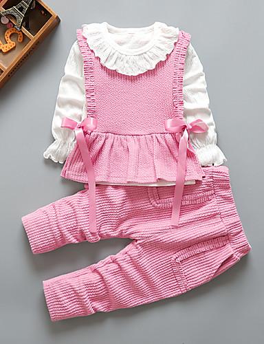 billige Babyudstyr-Børn Pige Aktiv Skole Dagligdagstøj Trykt mønster Trykt mønster Langærmet Lang Normal Tøjsæt Lyserød