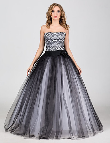 cheap Wedding Dresses-A-Line Strapless Medium Length Lace / Tulle Strapless Vintage Little White Dress / Black / 1950s Wedding Dresses with Bow(s) / Lace Insert 2020