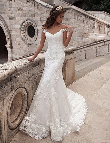cheap Wedding Dresses-Mermaid / Trumpet Off Shoulder Court Train Lace / Tulle / Lace Over Satin Short Sleeve Illusion Detail / Backless Wedding Dresses with Appliques 2020