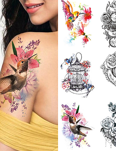 cheap Tattoos & Body Art-1 pcs Temporary Tattoos Water Resistant / Waterproof / Safety / Best Quality Face / Body / Hand Water-Transfer Sticker Body Painting Colors