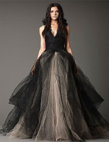 cheap Wedding Dresses-Ball Gown Halter Neck Floor Length Satin / Tulle Regular Straps Black / Modern Wedding Dresses with Appliques 2020
