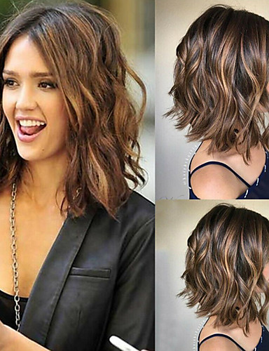 cheap Synthetic Wigs-Synthetic Wig Loose Curl Asymmetrical Wig Long Ombre Brown Synthetic Hair 14 inch Women's Color Gradient Best Quality Middle Part Brown