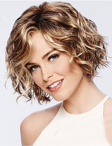 halpa Synteettiset peruukit-Synteettiset peruukit Kihara Epäsymmetrinen leikkaus Peruukki Lyhyt Golden Brown Synteettiset hiukset 11 inch Naisten Paras laatu curling Vaaleahiuksisuus