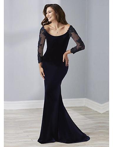 cheap Special Occasion Dresses-Sheath / Column Elegant Engagement Formal Evening Dress Scoop Neck 3/4 Length Sleeve Sweep / Brush Train Velvet with Beading 2020