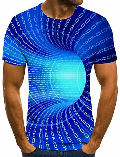 cheap Men's 3D Print Tops Super Sale-Men's Plus Size 3D Graphic T-shirt Basic Daily Round Neck Blue / Purple / Yellow / Red / Blushing Pink / Green / Short Sleeve