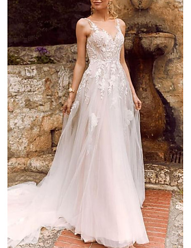 cheap Wedding Dresses-A-Line V Neck Court Train Chiffon / Tulle Spaghetti Strap Illusion Detail Wedding Dresses with Lace Insert 2020