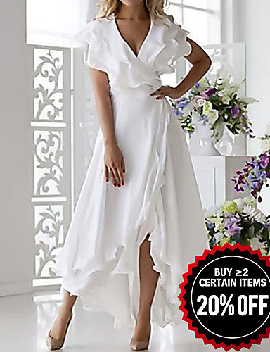 cheap 2020 Trends-Women's Plus Size Vacation Casual / Daily Solid Color Sexy Petal Sleeve A Line Dress - Solid Colored Ruffle Wrap Multi Layer V Neck Spring White Blushing Pink Blue S M L XL