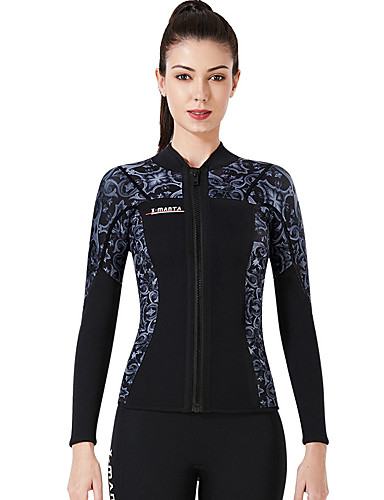 cheap Wetsuits, Diving Suits & Rash Guard Shirts-Dive&Sail Women's Wetsuit Jacket 3mm CR Neoprene Diving Suit Top Thermal / Warm Anatomic Design High Elasticity Long Sleeve Back Zip - Diving Water Sports Patchwork Autumn / Fall Spring Winter