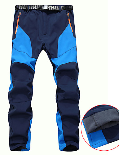 cheap Hiking Trousers & Shorts-Men's Hiking Pants Softshell Pants Winter Outdoor Thermal / Warm Waterproof Windproof Breathable Fleece Pants / Trousers Bottoms Blue Gray Coffee Camping / Hiking Hunting Ski / Snowboard M L XL XXL