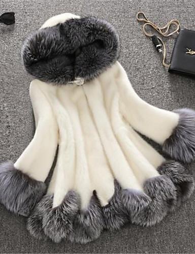 billige Overtøj til damer-Dame Vinter Faux Fur Coat Lang Farveblok Plusstørrelser Hvid Hvid Sort S M L