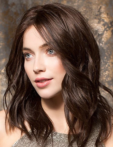halpa Synteettiset peruukit-Synteettiset peruukit Runsaat laineet Epäsymmetrinen leikkaus Peruukki Pitkä Beige Synteettiset hiukset 20 inch Naisten Paras laatu curling Ruskea