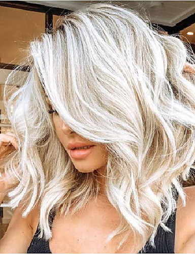 cheap Synthetic Wigs-Synthetic Wig kinky Straight Asymmetrical Wig Blonde Medium Length Blonde Synthetic Hair 15 inch Women's Best Quality Blonde