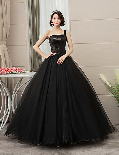 cheap Wedding Dresses-Ball Gown One Shoulder Floor Length Tulle / Sequined Spaghetti Strap Black Wedding Dresses with Draping 2020