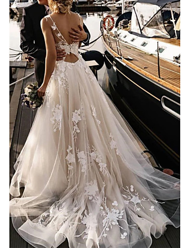 cheap Wedding Dresses 2020-A-Line V Neck Court Train Tulle Spaghetti Strap Backless Wedding Dresses with Appliques 2020