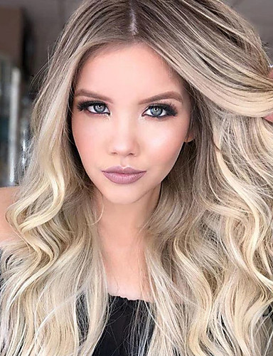 cheap Synthetic Wigs-Synthetic Wig Body Wave Asymmetrical Wig Blonde Long Blonde Synthetic Hair 27 inch Women's Best Quality Blonde