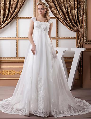 cheap Wedding Dresses-A-Line Wedding Dresses Square Neck Court Train Lace Organza Satin Cap Sleeve Formal Vintage Illusion Detail Plus Size with Beading Appliques 2020