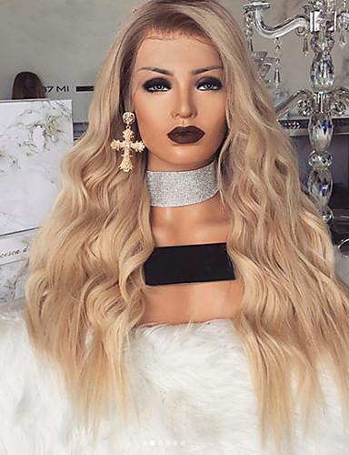 halpa Synteettiset peruukit-Synteettiset peruukit Runsaat laineet Epäsymmetrinen leikkaus Peruukki Vaaleahiuksisuus Pitkä Vaaleahiuksisuus Synteettiset hiukset 27 inch Naisten Vaaleahiuksisuus