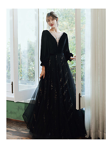 cheap Special Occasion Dresses-A-Line Elegant Sparkle Wedding Guest Prom Formal Evening Dress Jewel Neck Long Sleeve Floor Length Satin Tulle Sequined with 2020