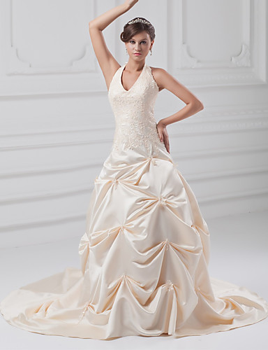cheap Wedding Dresses-A-Line Halter Neck Chapel Train Lace / Satin Regular Straps Wedding Dresses with Pick Up Skirt / Beading / Appliques 2020