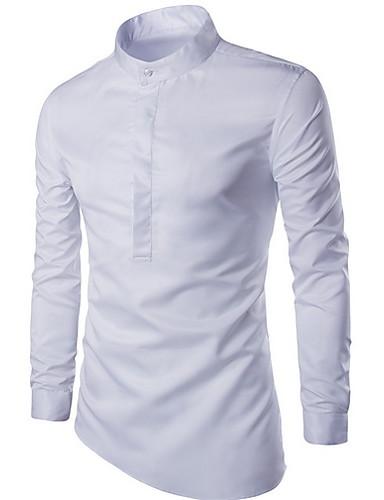 povoljno Bijele košulje-Muškarci Dnevno Majica Jednobojni Dugih rukava Tops Obala Crn