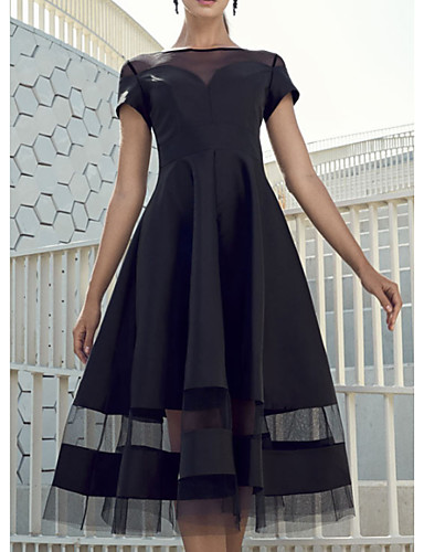 cheap Special Occasion Dresses-A-Line Elegant Party Wear Wedding Guest Cocktail Party Dress Boat Neck Short Sleeve Knee Length Organza Charmeuse with Tier 2020