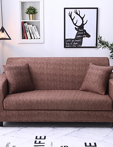 cheap Sofa Cover-Luxury Basic Solid Dustproof Stretch Slipcovers Stretch Sofa Cover Super Soft Fabric Couch Cover (You will Get 1 Throw Pillow Case as free Gift)