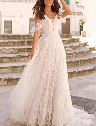 cheap Wedding Dresses-A-Line V Neck Court Train / Sweep / Brush Train Chiffon / Tulle Long Sleeve Boho Plus Size Wedding Dresses with Lace Insert 2020 / Yes