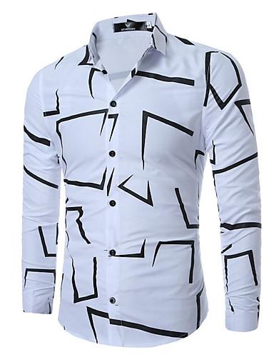povoljno Bijele košulje-Muškarci Dnevno Majica Geometrijski oblici Dugih rukava Tops Osnovni Obala Crn Navy Plava
