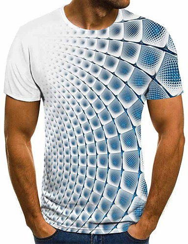 cheap Men's Tees & Tank Tops-Men's 3D Graphic T-shirt Basic Daily Round Neck Blue / Purple / Gray / Light Blue / Short Sleeve