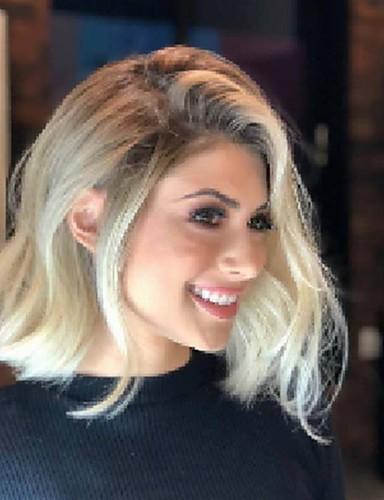 halpa Synteettiset peruukit-Synteettiset peruukit Kinky Straight Epäsymmetrinen leikkaus Peruukki Lyhyt Vaaleahiuksisuus Synteettiset hiukset 13 inch Naisten Liukuvärjätty Paras laatu Pörröinen Vaaleahiuksisuus