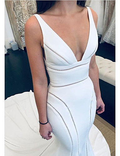 cheap Wedding Dresses-Mermaid / Trumpet V Neck Court Train Satin Regular Straps Formal Plus Size Wedding Dresses with Draping 2020