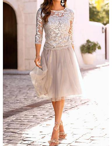 Mulheres Elegante Renda Evasê Vestido - Renda, Sólido Altura dos Joelhos / Delgado