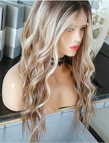 halpa Synteettiset peruukit-Synteettiset peruukit Runsaat laineet Epäsymmetrinen leikkaus Peruukki Vaaleahiuksisuus Pitkä Vaaleahiuksisuus Synteettiset hiukset 27 inch Naisten curling Vaaleahiuksisuus