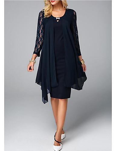 billige Kjoler til brudens mor-skjede / søyle mor til brudekjolen pluss størrelse juvelhals knelengde chiffon 3/4 lengde erme med blondekrystaller 2020 mor til brudgommens kjoler